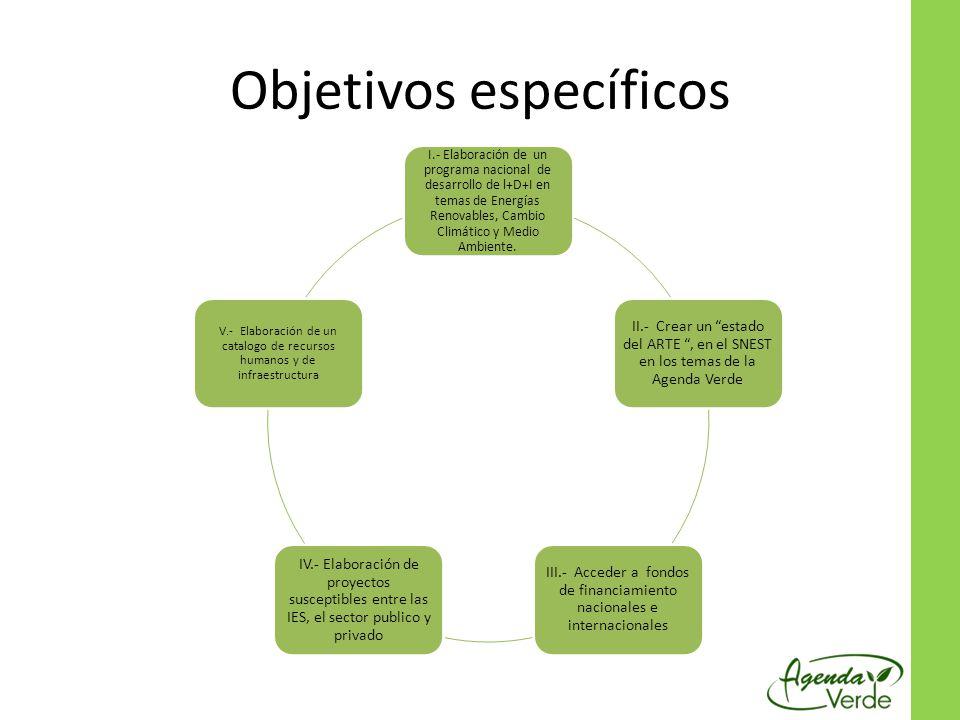 Objetivos específicos I.- Elaboración de un programa nacional de desarrollo de l+D+I en temas de Energías Renovables, Cambio Climático y Medio Ambient
