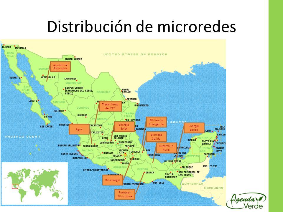 Distribución de microredes Desarrollo Rural Biomasa Solida Energía Eolica Forestal- Silvicultura Eficiencia Energética Arquitectura Sustentable Tratamiento de PET EnergÍa Solar Agua Bioenergía