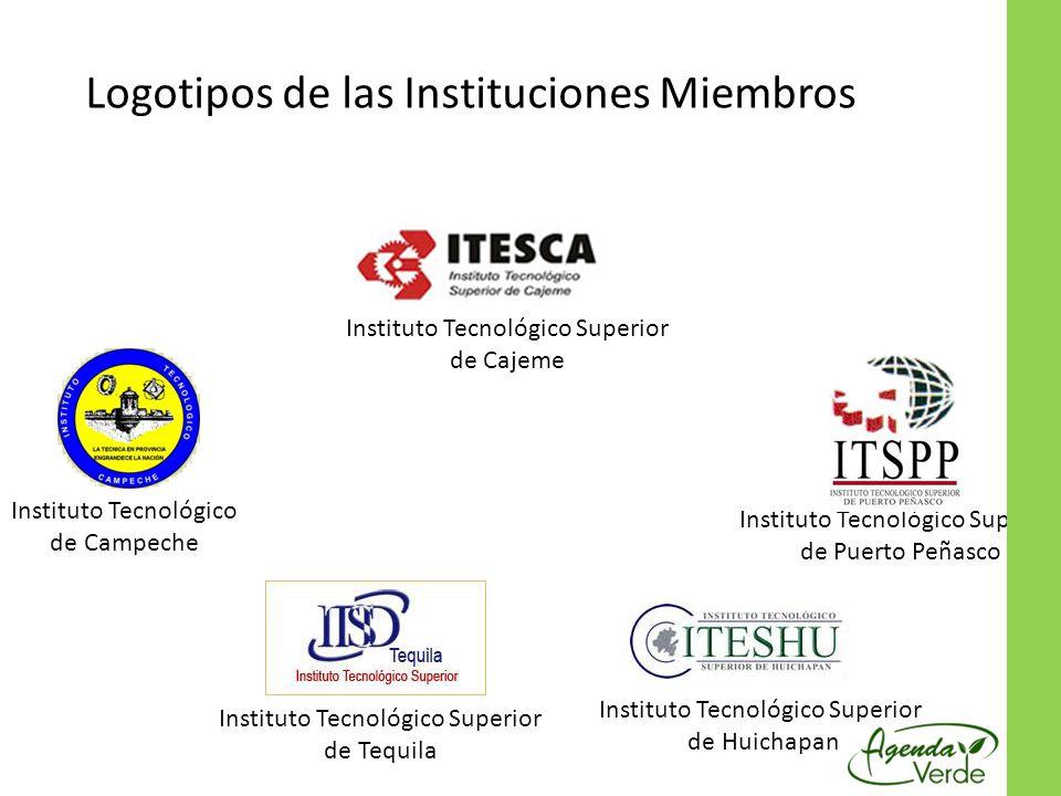 Instituto Tecnológico Superior de Cajeme Instituto Tecnológico Superior de Huichapan Instituto Tecnológico de Campeche Instituto Tecnológico Superior de Puerto Peñasco Instituto Tecnológico Superior de Tequila Logotipos de las Instituciones Miembros