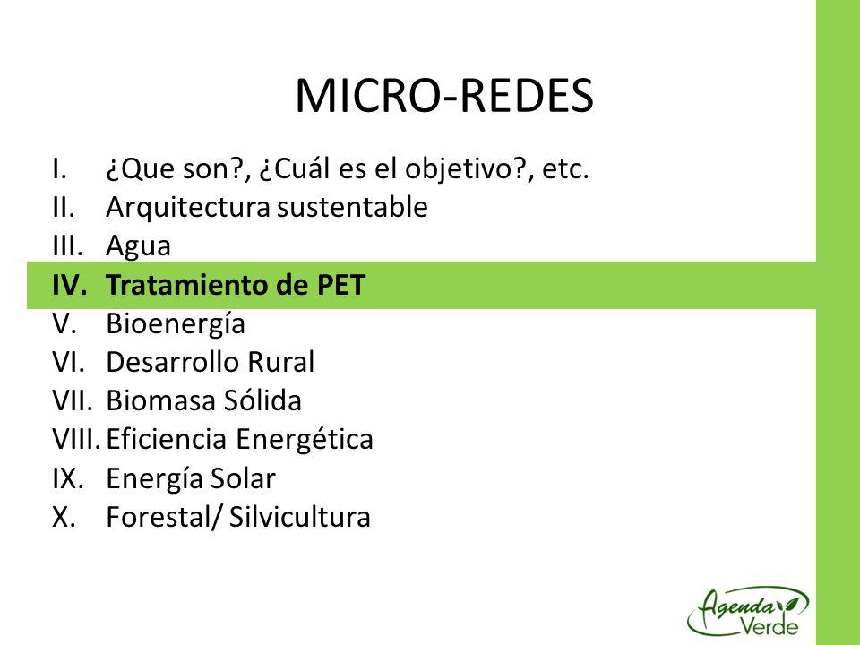 I.¿Que son?, ¿Cuál es el objetivo?, etc. II.Arquitectura sustentable III.Agua IV.Tratamiento de PET V.Bioenergía VI.Desarrollo Rural VII.Biomasa Sólid