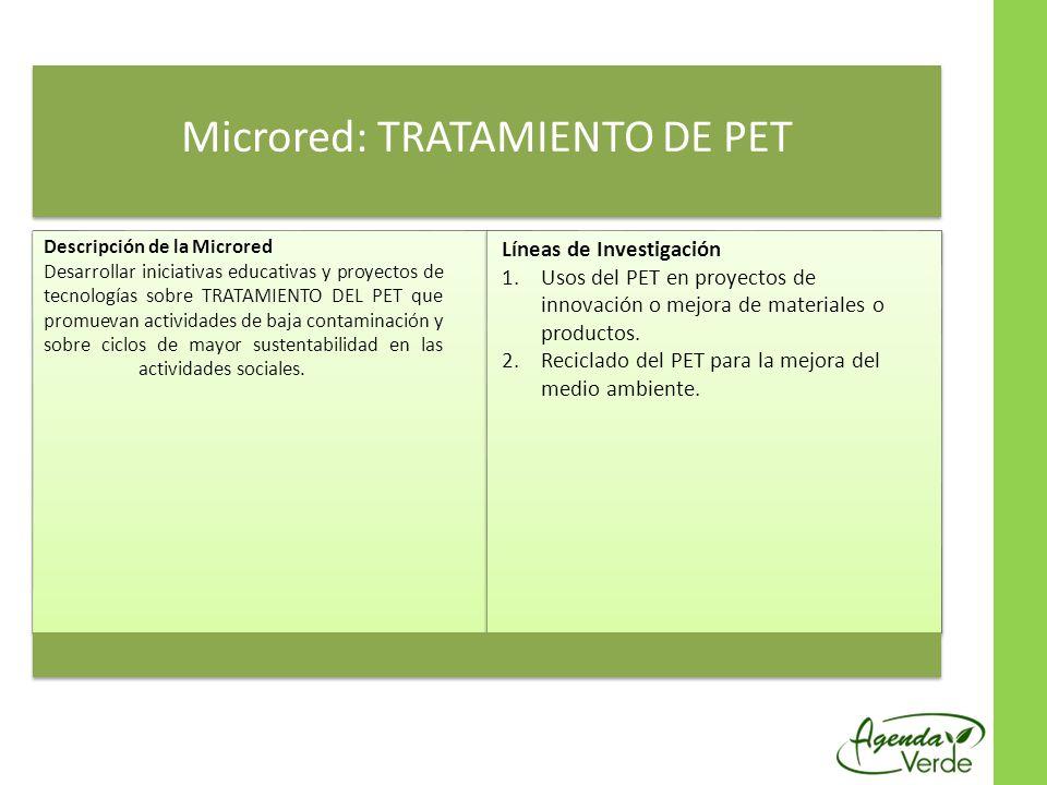 Microred: TRATAMIENTO DE PET Descripción de la Microred Desarrollar iniciativas educativas y proyectos de tecnologías sobre TRATAMIENTO DEL PET que pr