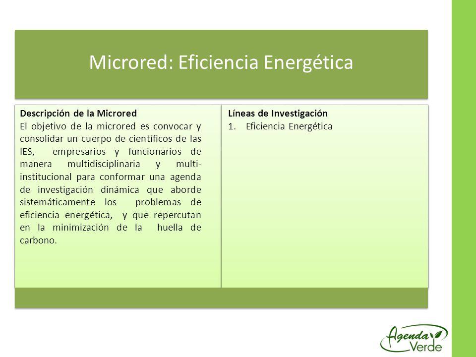 Microred: Eficiencia Energética Descripción de la Microred El objetivo de la microred es convocar y consolidar un cuerpo de científicos de las IES, empresarios y funcionarios de manera multidisciplinaria y multi- institucional para conformar una agenda de investigación dinámica que aborde sistemáticamente los problemas de eficiencia energética, y que repercutan en la minimización de la huella de carbono.