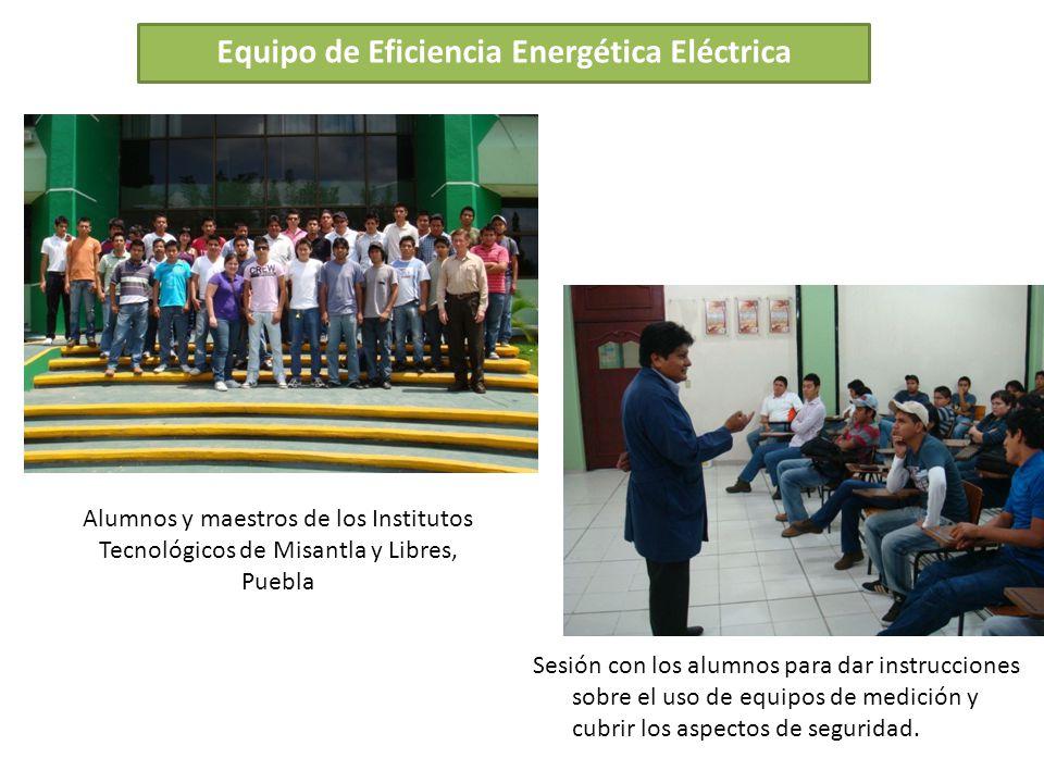 Equipo de Eficiencia Energética Eléctrica Alumnos y maestros de los Institutos Tecnológicos de Misantla y Libres, Puebla Sesión con los alumnos para d