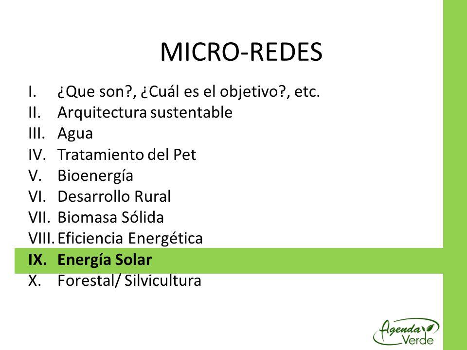 I.¿Que son?, ¿Cuál es el objetivo?, etc. II.Arquitectura sustentable III.Agua IV.Tratamiento del Pet V.Bioenergía VI.Desarrollo Rural VII.Biomasa Sóli