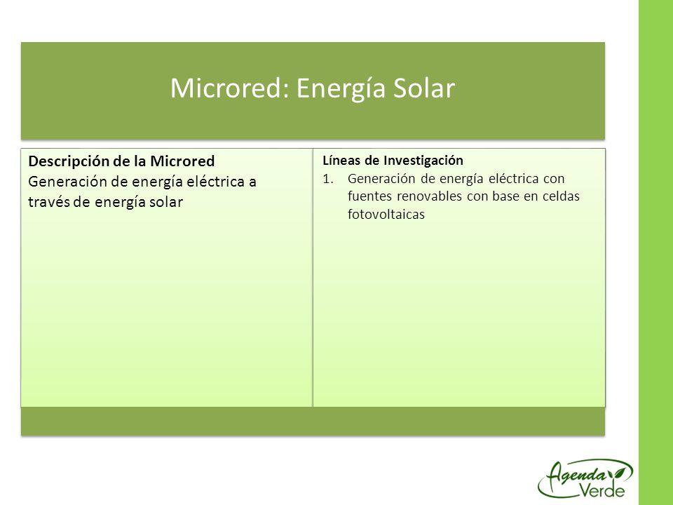 Microred: Energía Solar Descripción de la Microred Generación de energía eléctrica a través de energía solar Líneas de Investigación 1.Generación de energía eléctrica con fuentes renovables con base en celdas fotovoltaicas
