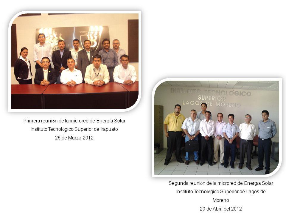Primera reuni ó n de la microred de Energ í a Solar Instituto Tecnol ó gico Superior de Irapuato 26 de Marzo 2012 Segunda reuni ó n de la microred de