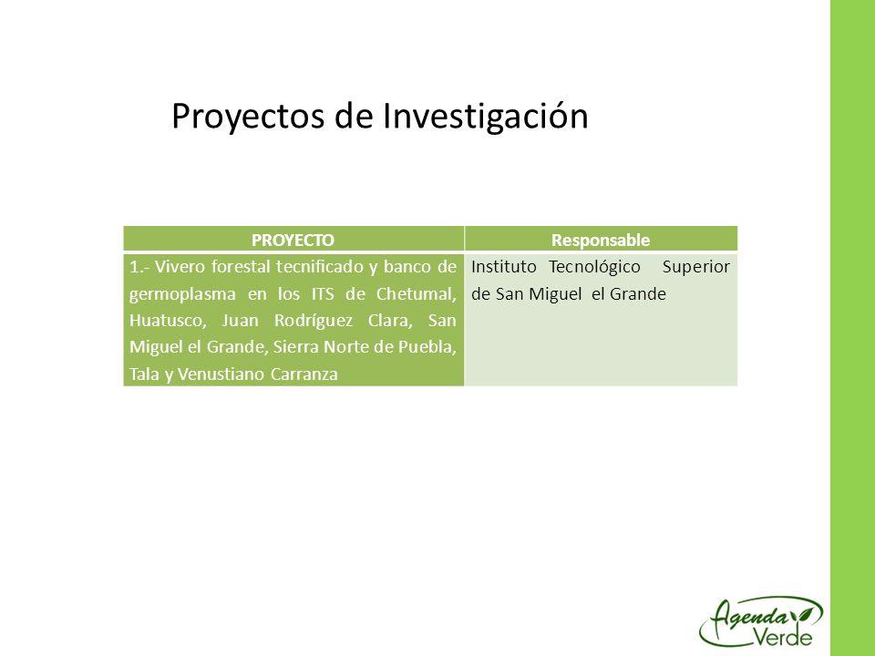Proyectos de Investigación PROYECTOResponsable 1.- Vivero forestal tecnificado y banco de germoplasma en los ITS de Chetumal, Huatusco, Juan Rodríguez