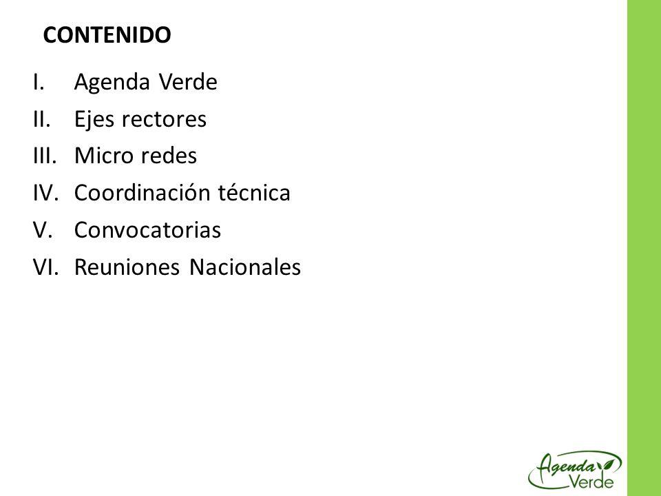 I.Agenda Verde II.Ejes rectores III.Micro redes IV.Coordinación técnica V.Convocatorias VI.Reuniones Nacionales CONTENIDO