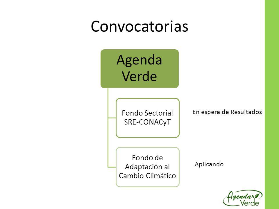 Convocatorias Agenda Verde Fondo Sectorial SRE-CONACyT Fondo de Adaptación al Cambio Climático En espera de Resultados Aplicando