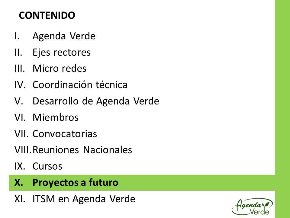 I.Agenda Verde II.Ejes rectores III.Micro redes IV.Coordinación técnica V.Desarrollo de Agenda Verde VI.Miembros VII.Convocatorias VIII.Reuniones Naci
