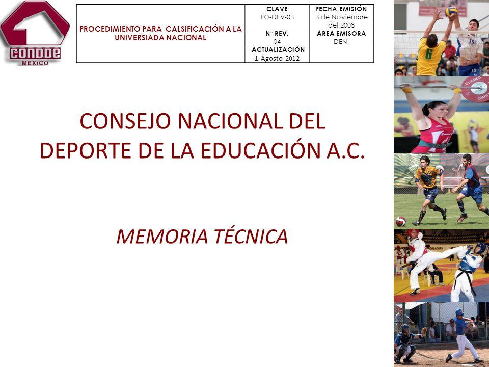 CONSEJO NACIONAL DEL DEPORTE DE LA EDUCACIÓN A.C.