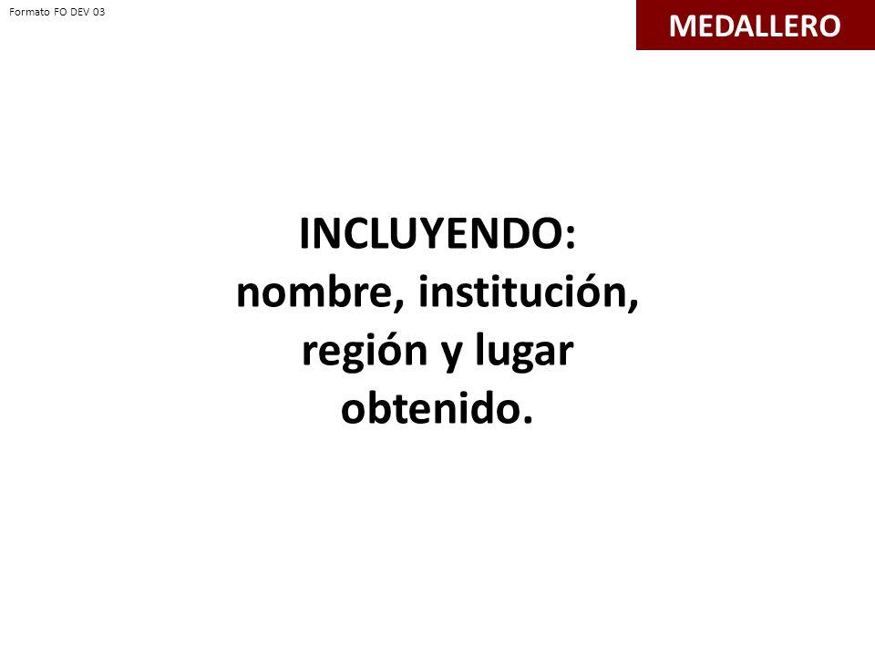 INCLUYENDO: nombre, institución, región y lugar obtenido. MEDALLERO Formato FO DEV 03