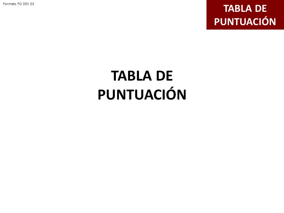 TABLA DE PUNTUACIÓN Formato FO DEV 03