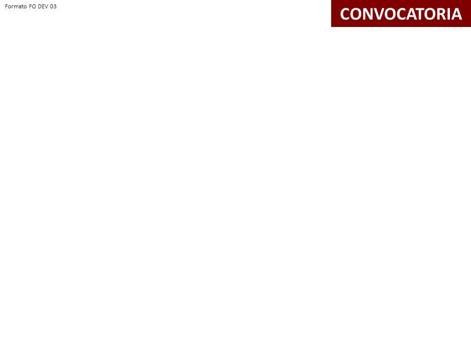 CONVOCATORIA Formato FO DEV 03