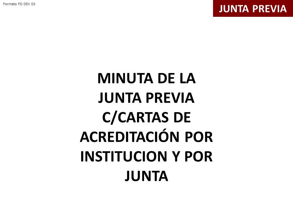 JUNTA PREVIA MINUTA DE LA JUNTA PREVIA C/CARTAS DE ACREDITACIÓN POR INSTITUCION Y POR JUNTA Formato FO DEV 03