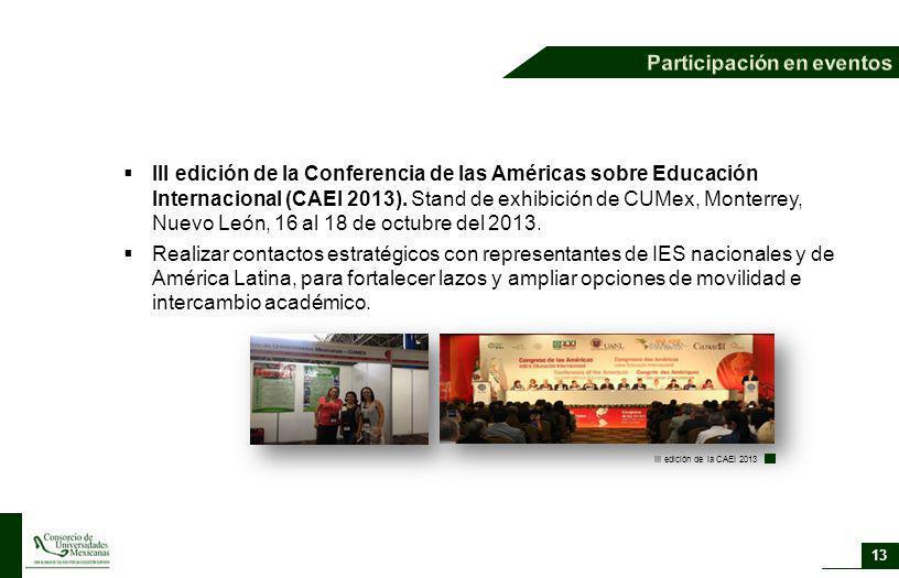 13 III edición de la Conferencia de las Américas sobre Educación Internacional (CAEI 2013). Stand de exhibición de CUMex, Monterrey, Nuevo León, 16 al