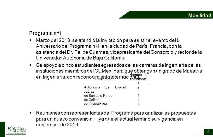 Programa n+i Marzo del 2013: se atendió la invitación para asistir al evento del L Aniversario del Programa n+i, en la ciudad de París, Francia, con l
