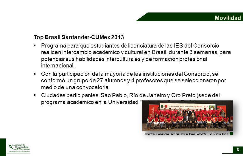 Top Brasil Santander-CUMex 2013 Programa para que estudiantes de licenciatura de las IES del Consorcio realicen intercambio académico y cultural en Br