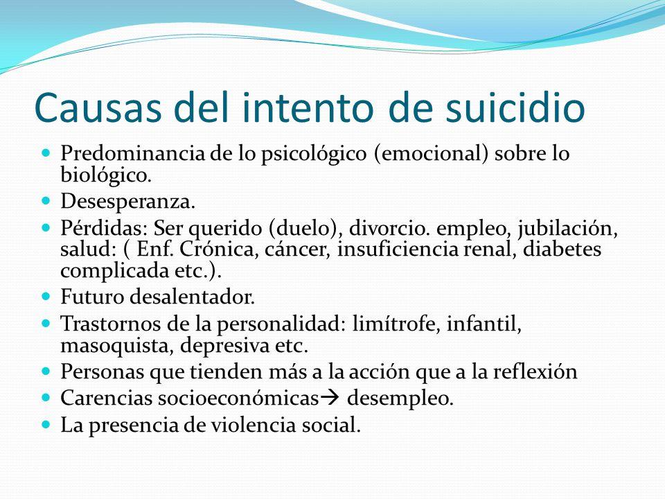 Causas del intento de suicidio Predominancia de lo psicológico (emocional) sobre lo biológico. Desesperanza. Pérdidas: Ser querido (duelo), divorcio.