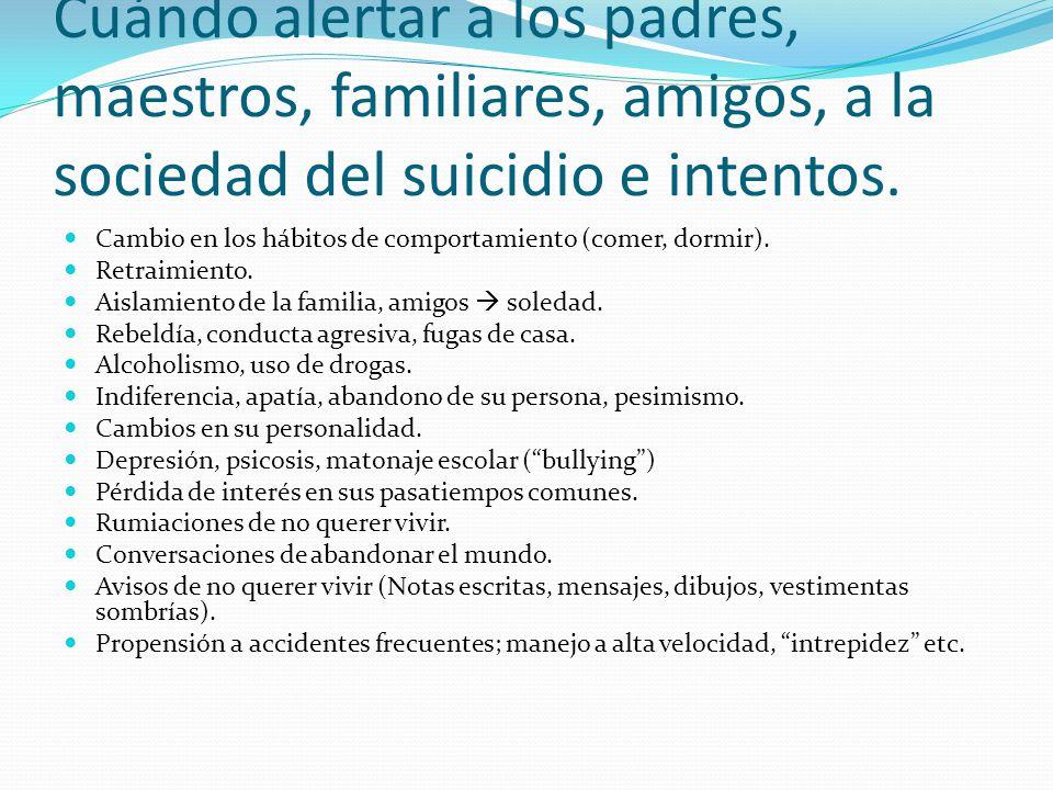 Cuándo alertar a los padres, maestros, familiares, amigos, a la sociedad del suicidio e intentos. Cambio en los hábitos de comportamiento (comer, dorm