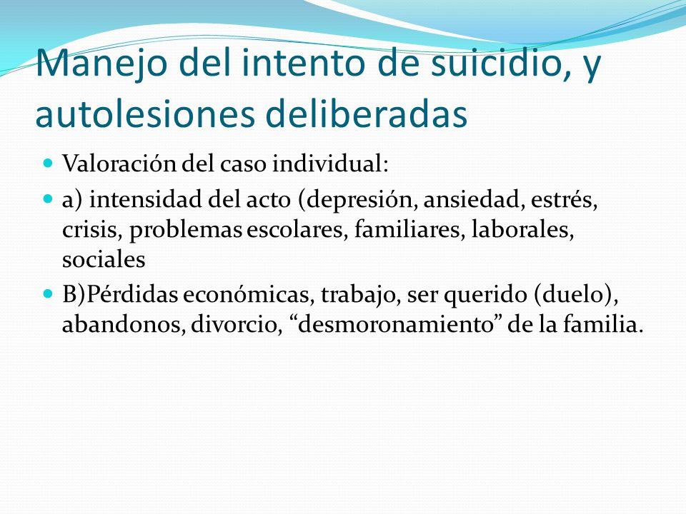 Manejo del intento de suicidio, y autolesiones deliberadas Valoración del caso individual: a) intensidad del acto (depresión, ansiedad, estrés, crisis