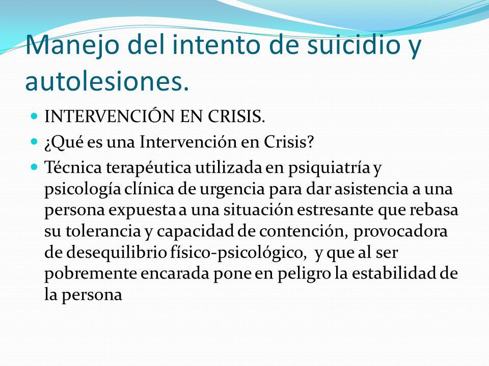 Manejo del intento de suicidio y autolesiones. INTERVENCIÓN EN CRISIS. ¿Qué es una Intervención en Crisis? Técnica terapéutica utilizada en psiquiatrí