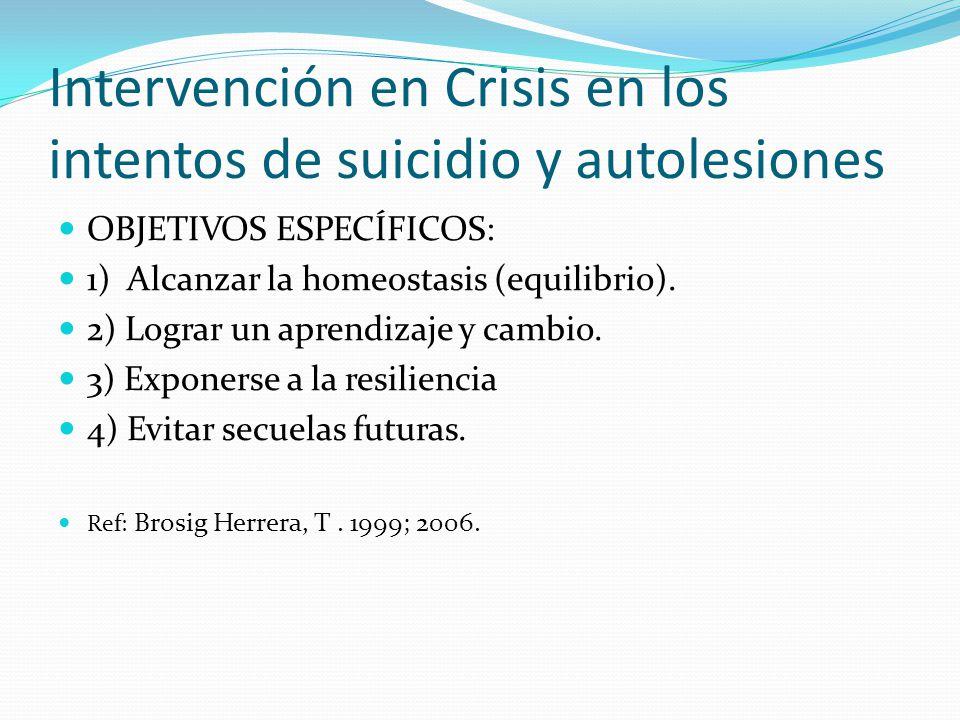 Intervención en Crisis en los intentos de suicidio y autolesiones OBJETIVOS ESPECÍFICOS: 1) Alcanzar la homeostasis (equilibrio). 2) Lograr un aprendi