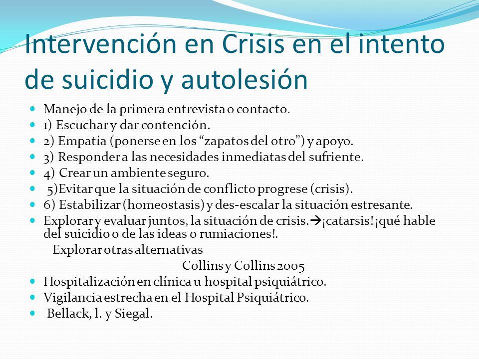 Intervención en Crisis en el intento de suicidio y autolesión Manejo de la primera entrevista o contacto. 1) Escuchar y dar contención. 2) Empatía (po
