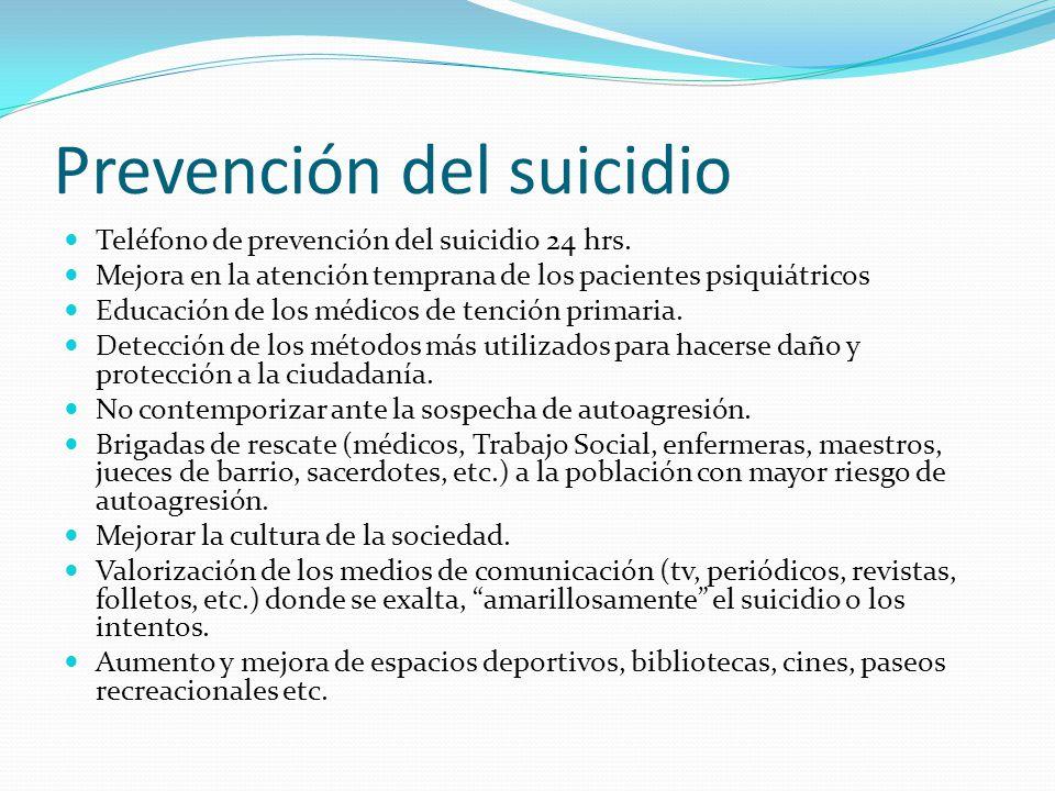 Prevención del suicidio Teléfono de prevención del suicidio 24 hrs. Mejora en la atención temprana de los pacientes psiquiátricos Educación de los méd