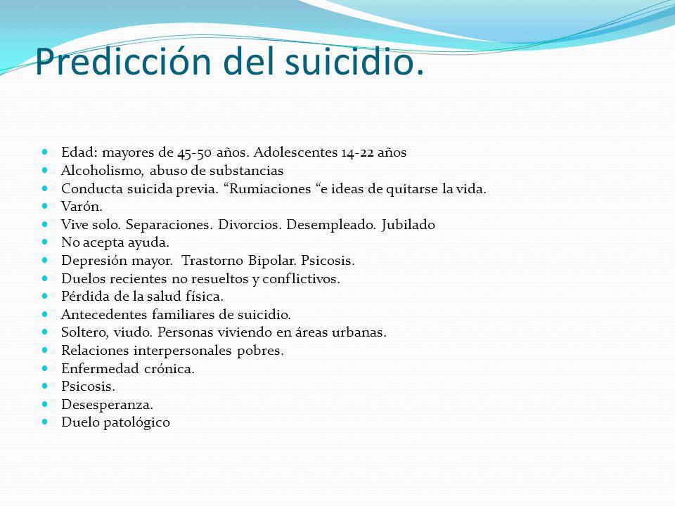 Predicción del suicidio. Edad: mayores de 45-50 años. Adolescentes 14-22 años Alcoholismo, abuso de substancias Conducta suicida previa. Rumiaciones e
