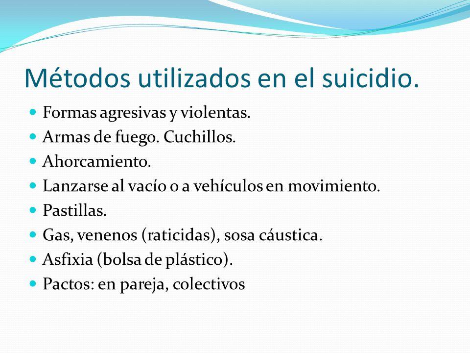Métodos utilizados en el suicidio. Formas agresivas y violentas. Armas de fuego. Cuchillos. Ahorcamiento. Lanzarse al vacío o a vehículos en movimient