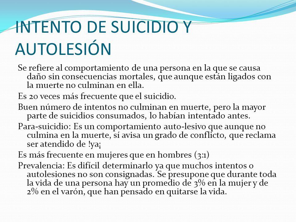 INTENTO DE SUICIDIO Y AUTOLESIÓN Se refiere al comportamiento de una persona en la que se causa daño sin consecuencias mortales, que aunque están liga