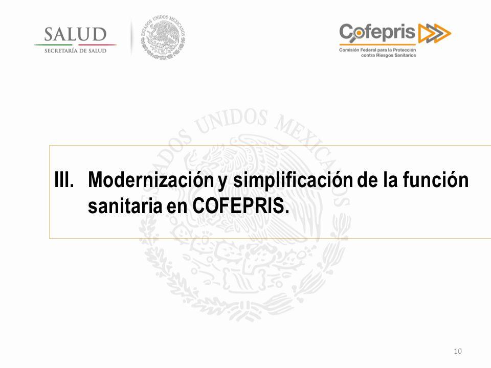 III.Modernización y simplificación de la función sanitaria en COFEPRIS. 10