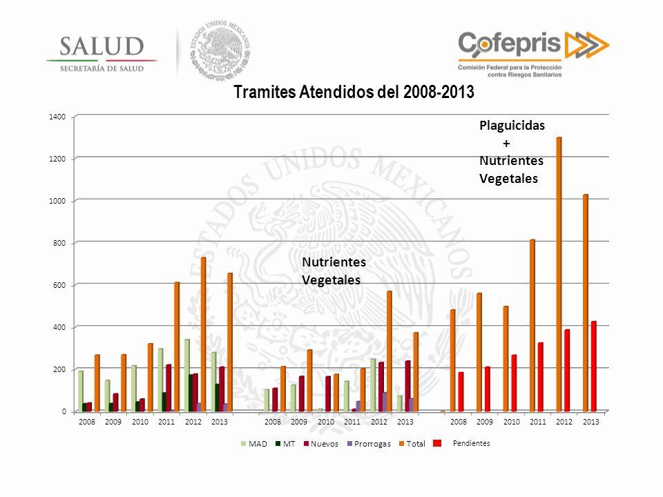Tramites Atendidos del 2008-2013 Pendientes