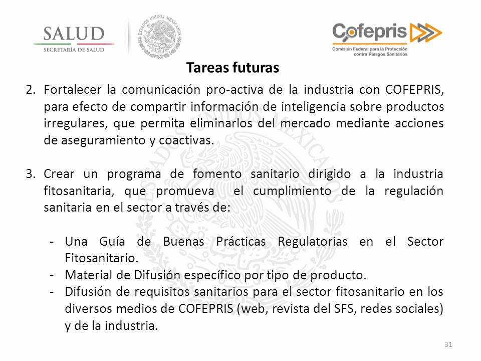 31 2.Fortalecer la comunicación pro-activa de la industria con COFEPRIS, para efecto de compartir información de inteligencia sobre productos irregula