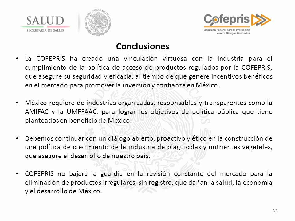 33 La COFEPRIS ha creado una vinculación virtuosa con la industria para el cumplimiento de la política de acceso de productos regulados por la COFEPRI