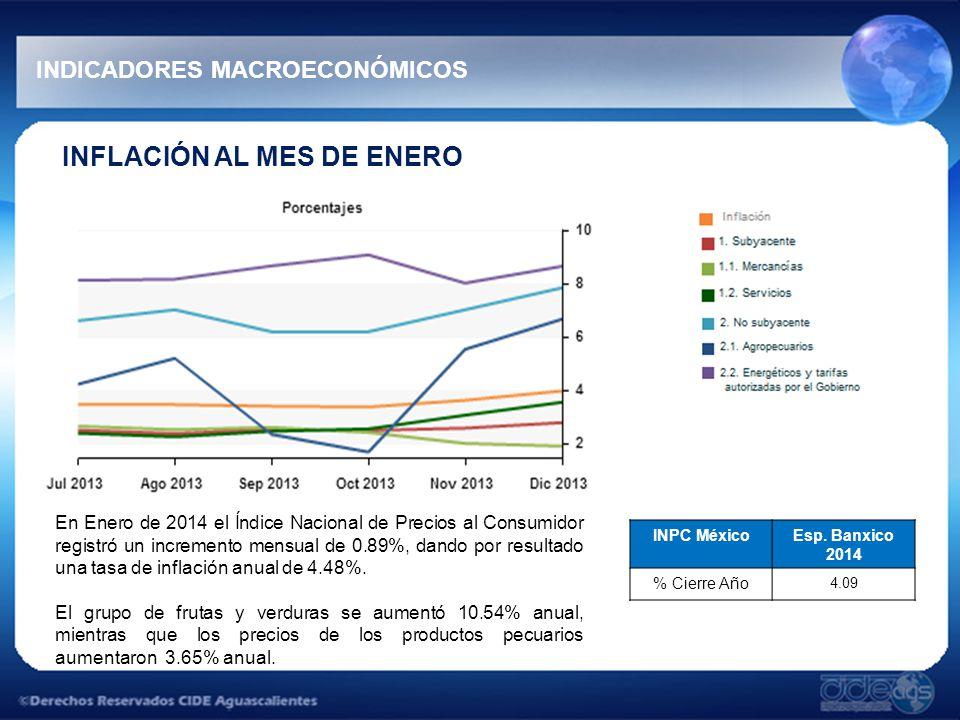 INFLACIÓN AL MES DE ENERO En Enero de 2014 el Índice Nacional de Precios al Consumidor registró un incremento mensual de 0.89%, dando por resultado una tasa de inflación anual de 4.48%.
