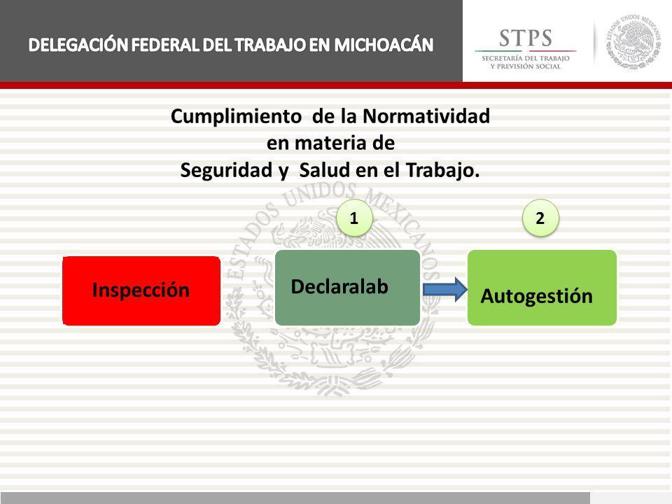 Cumplimiento de la Normatividad en materia de Seguridad y Salud en el Trabajo. Inspección Declaralab Autogestión 1 1 2 2