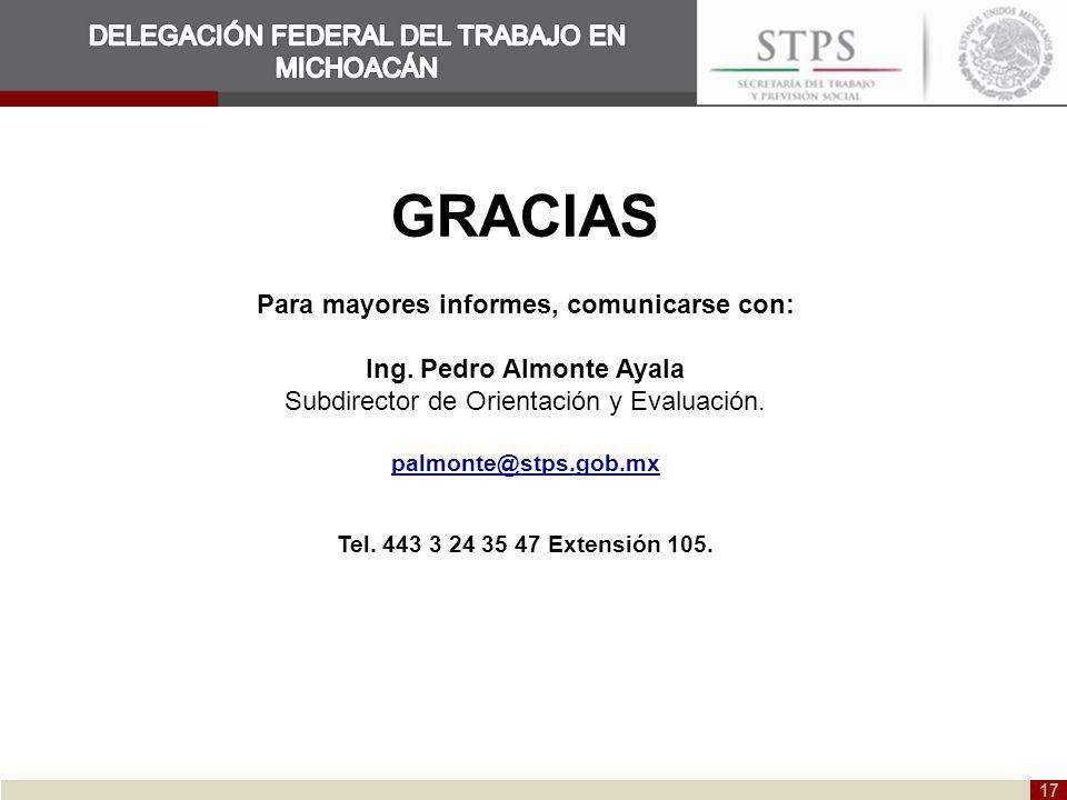 17 GRACIAS Para mayores informes, comunicarse con: Ing. Pedro Almonte Ayala Subdirector de Orientación y Evaluación. palmonte@stps.gob.mx Tel. 443 3 2