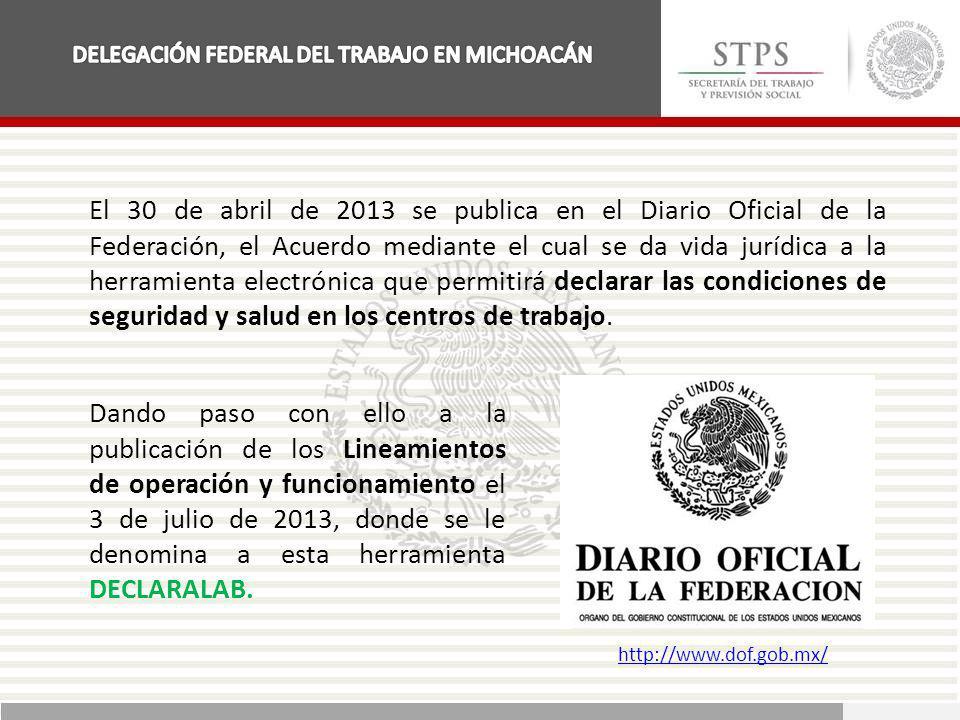 El 30 de abril de 2013 se publica en el Diario Oficial de la Federación, el Acuerdo mediante el cual se da vida jurídica a la herramienta electrónica