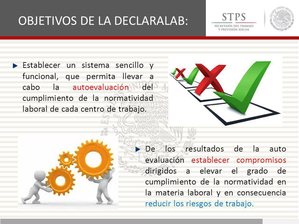 Establecer un sistema sencillo y funcional, que permita llevar a cabo la autoevaluación del cumplimiento de la normatividad laboral de cada centro de