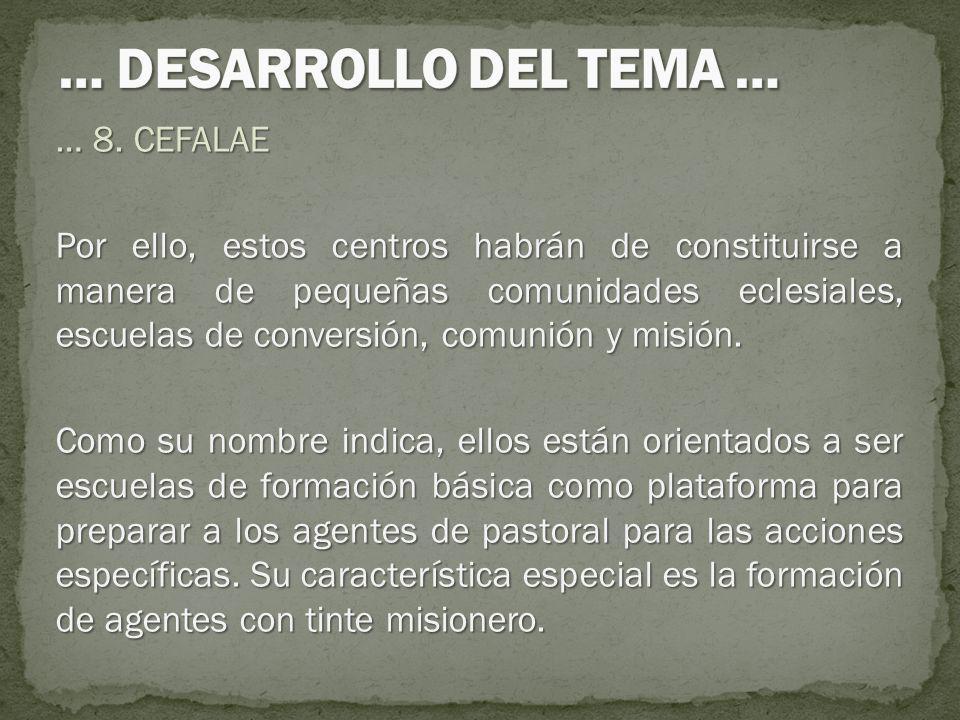 … 8. CEFALAE Por ello, estos centros habrán de constituirse a manera de pequeñas comunidades eclesiales, escuelas de conversión, comunión y misión. Co