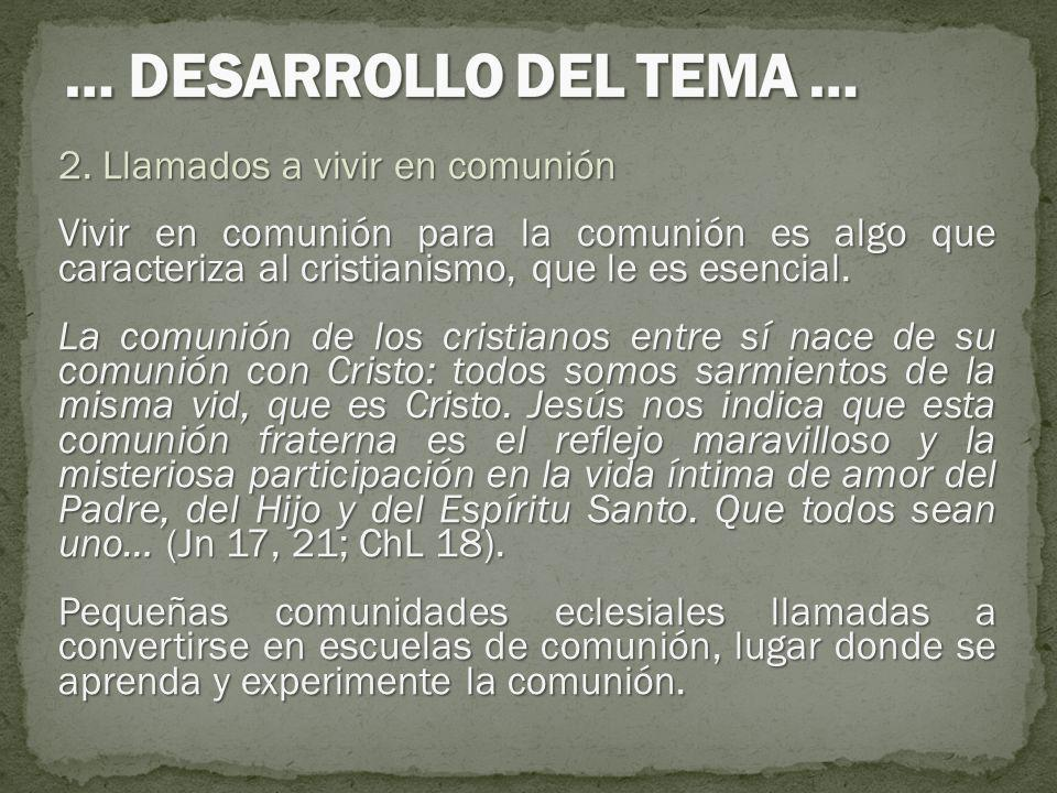 2. Llamados a vivir en comunión Vivir en comunión para la comunión es algo que caracteriza al cristianismo, que le es esencial. La comunión de los cri