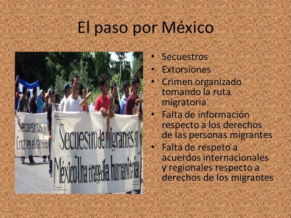 El paso por México Secuestros Extorsiones Crimen organizado tomando la ruta migratoria Falta de información respecto a los derechos de las personas mi
