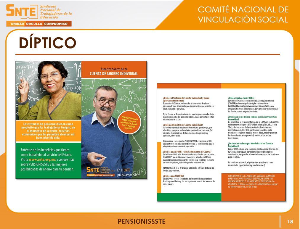COMITÉ NACIONAL DE VINCULACIÓN SOCIAL PENSIONISSSTE DÍPTICO 18