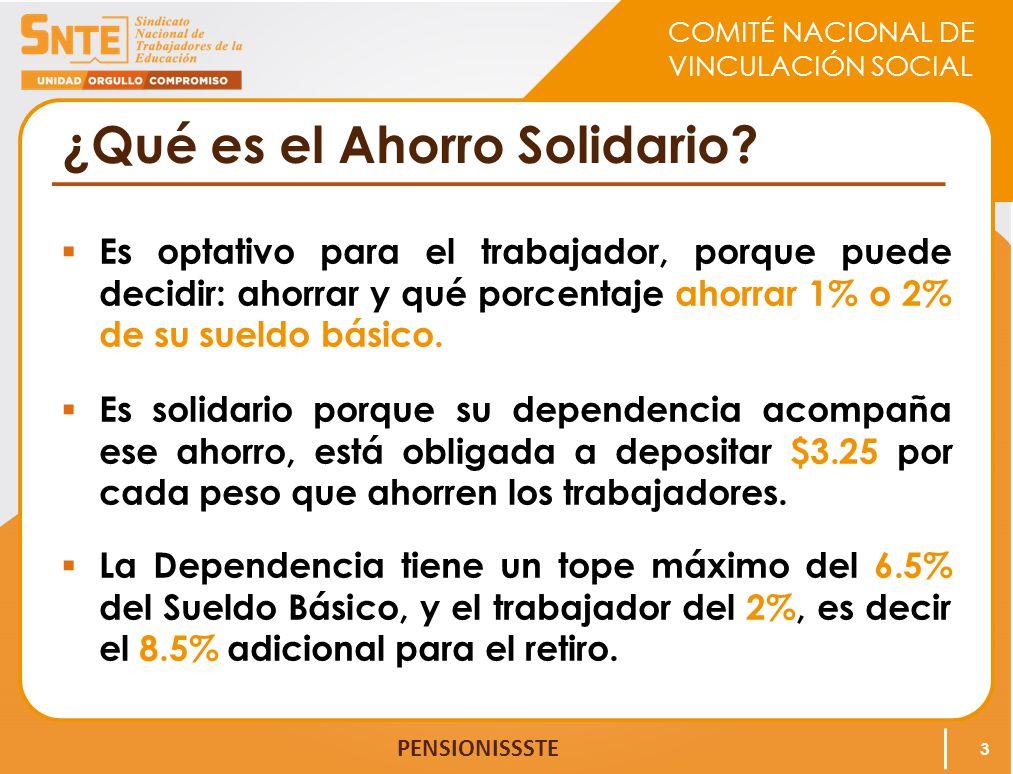 COMITÉ NACIONAL DE VINCULACIÓN SOCIAL PENSIONISSSTE Cuadro de Acumulación de fondos en la Cuenta Individual considerando una aportación del 1% para el Ahorro Solidario 14 APORTACIONES ANUALIZADAS PARA LA CUENTA DE RCV APORTACIONES ANUALIZADAS DE AHORRO SOLIDARIO 1% Año Salario Mensual Salario Anual Trabajador (6.125%) Dependencia (5.175%) Gobierno Federal (1.11%) Total de cuenta de RCV (12.41%) Trabajador (1%) Dependencia (3.25%) Total de la subcuenta de Ahorro Solidario (4.25%) 110,000120,0007,3506,2101,33214,8921,2003,9005,100 1013,048156,57384,26071,19115,274170,72413,75744,70958,466 2017,535210,421197,497166,86535,801400,16332,244104,794137,039 3023,566282,788349,679295,44363,387708,50957,090185,544242,635 TOTAL349,679295,44363,387708,509.3657,090185,544242,634.62 * El Gobierno Federal cubrirá mensualmente una Cuota Social diaria por cada Trabajador, equivalente al 5.5% del SMGDF vigente al día 1o de julio de 1997 actualizado trimestralmente conforme al INPC.