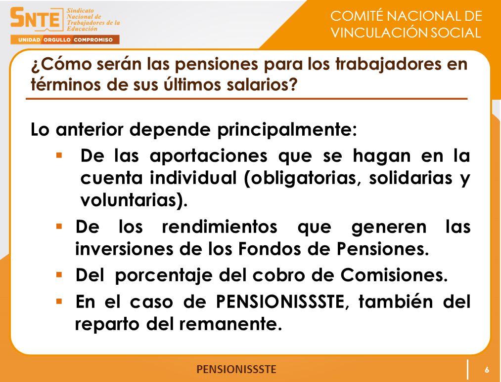 COMITÉ NACIONAL DE VINCULACIÓN SOCIAL PENSIONISSSTE ¿Cómo serán las pensiones para los trabajadores en términos de sus últimos salarios? Lo anterior d