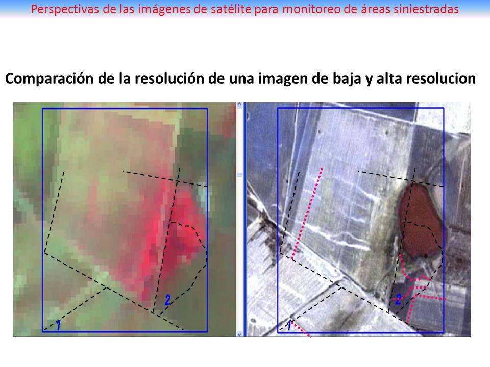 Comparación de la resolución de una imagen de baja y alta resolucion Perspectivas de las imágenes de satélite para monitoreo de áreas siniestradas