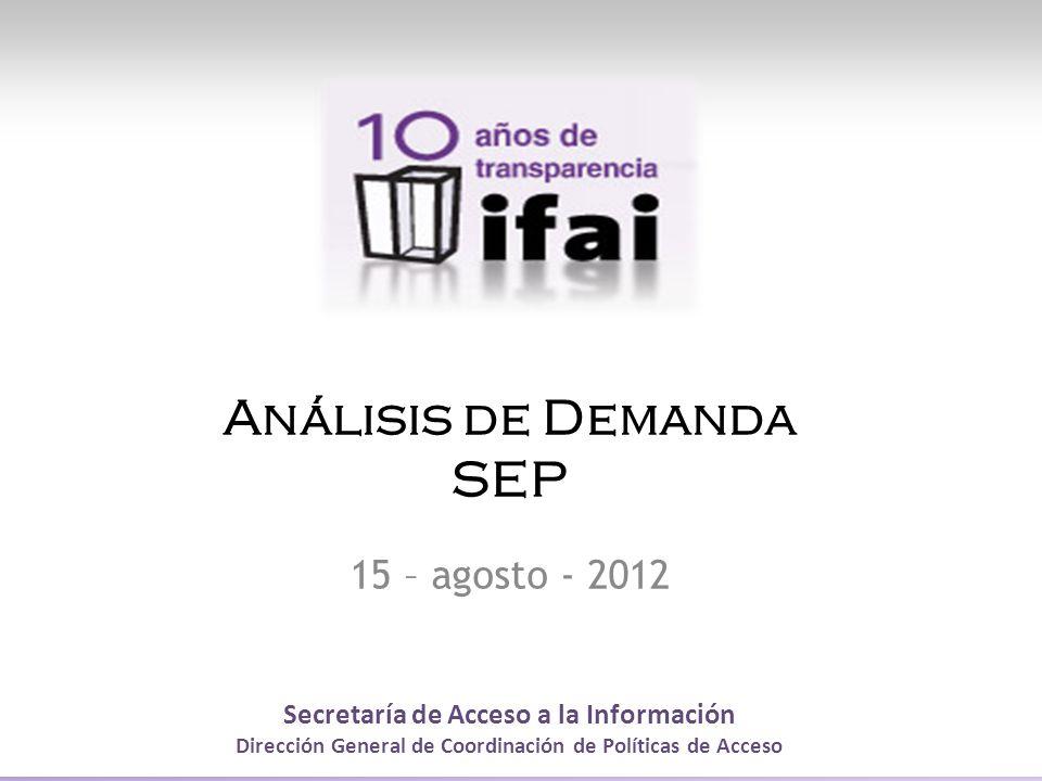 Secretaría de Acceso a la Información Dirección General de Coordinación de Políticas de Acceso Análisis de Demanda SEP 15 – agosto - 2012