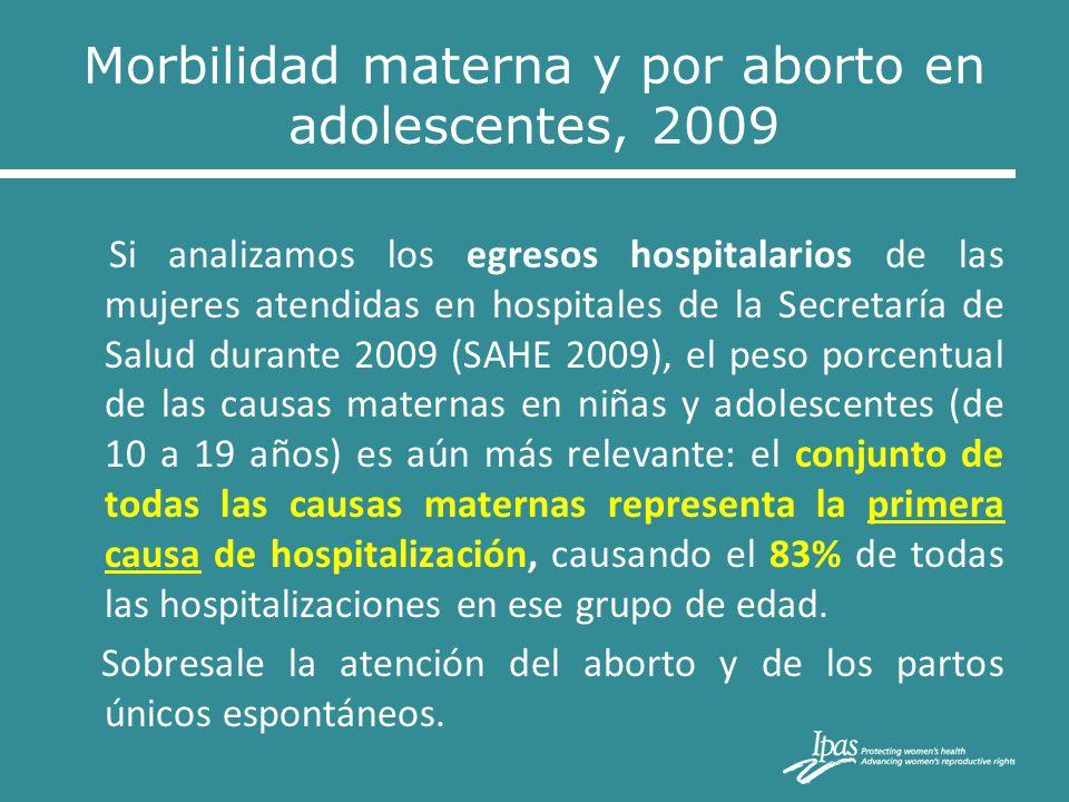Si analizamos los egresos hospitalarios de las mujeres atendidas en hospitales de la Secretaría de Salud durante 2009 (SAHE 2009), el peso porcentual